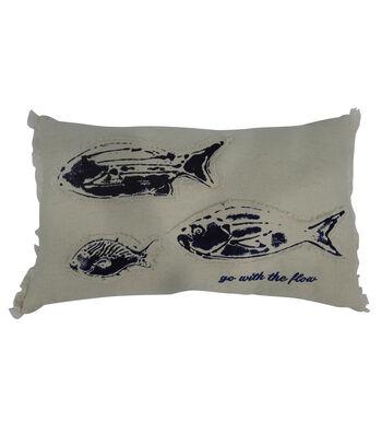 Indigo Mist Fish Lumbar Pillow