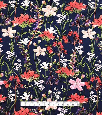 Silky Stretch Chiffon Fabric-Navy Multi Whimsy Stems