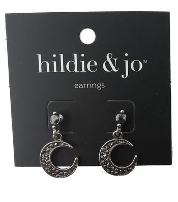 hildie & jo 1''x0.5'' Crescent Antique Silver Earrings