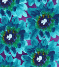 Kathy Davis Apparel Rayon Fabric 53\u0022-Teal and Purple Paintbrushed Floral