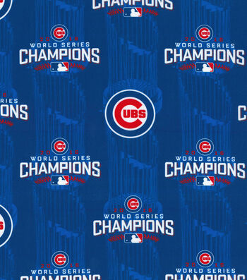 "Chicago Cubs Cotton Fabric 44""-World Series Championship"