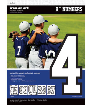 8-Inch White Number Team Pack Transfers