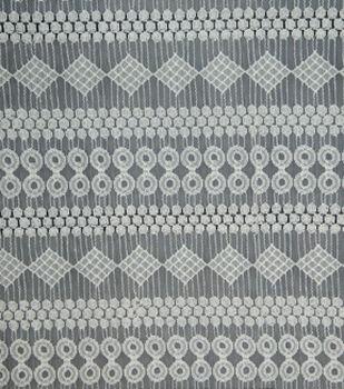 Lace Knit Fabric 54''-White Circle & Diamond