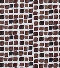 Keepsake Calico Cotton Fabric-Brown Spaced Tiles on White
