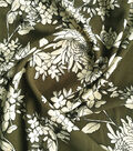 Stretch Crepe Knit Fabric-Ivory Floral on Olive