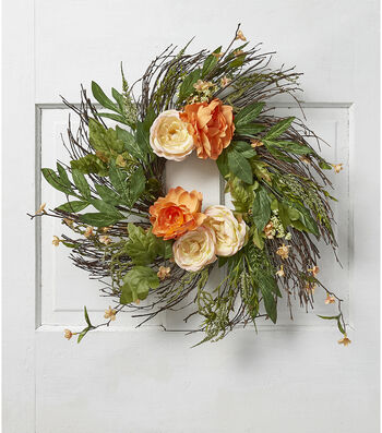Fresh Picked Spring 22'' Ranunculus & Peony Wispy Wreath-Peach