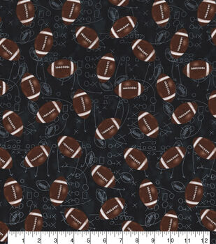 Novelty Cotton Fabric-Footballs Chalkboard Play