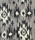 Luxe Fleece Fabric -Gray & Black Aztec