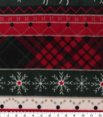 Anti-Pill Plush Fleece Fabric-Woodland Stripe With Plaid Holiday