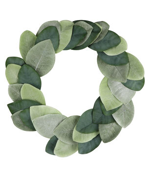 Fresh Picked Spring 20'' Magnolia Leaves Wreath-Green