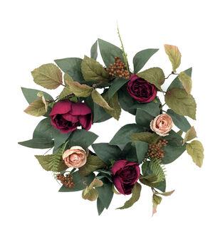 Blooming Autumn Rom Rose, Ranunculus & Berry Mini Wreath-Red