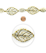 "Blue Moon Beads 7"" Strand, Metal Connectors, Filigree Leaf Gold, , hi-res"
