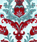 Snuggle Flannel Fabric -Joy Damask Red Teal