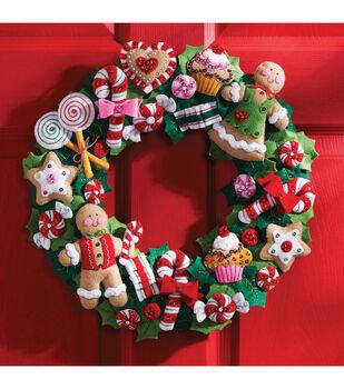 Bucilla Cookies & Candy Wreath Felt Applique Kit
