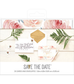 Save the Date 5.5''x4.25'' Cards & Envelopes-Floral & Thank You