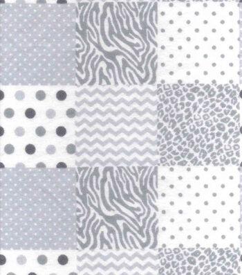 """Nursery Flannel Fabric 42""""-Grey Animal Patchwork"""