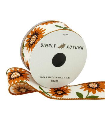 Simply Autumn Ribbon 1.5''x12'-Sunflower on Ivory