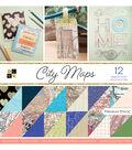 DCWV 12\u0027\u0027x12\u0027\u0027 36 Pack Premium Printed Cardstock Stacks-City Maps