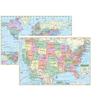U.S. & World Wall Map Set, 3 Sets