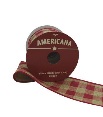 """Americana Ribbon 2.5""""x12'-Red & Natural Buffalo Plaid"""