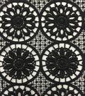 Lace Knit Fabric 48\u0027\u0027-Black Medallion Floral