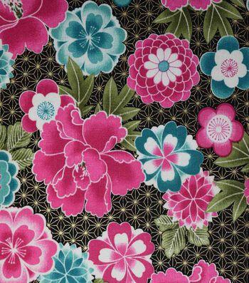 Premium Cotton Print Fabric 44''-Metallic & Pink Large Floral