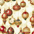 Christmas Cotton Fabric-Decorative Ornaments Cream Metallic