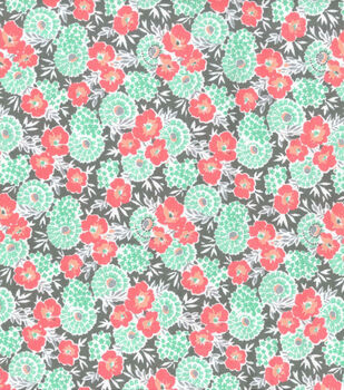 Wide Flannel Fabric -Coral & Mint Floral on Gray