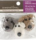 Dimensions 3 pk Feltworks Dog Heads