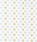 Christmas Cotton Fabric 43\u0022-Gold Metallic Snowflake Diamonds