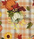 Harvest Cotton Fabric -Pumpkins On Plaid Wide