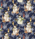 Christmas Cotton Fabric-Snowmen with Brooms