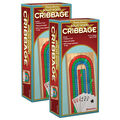Pressman Cribbage with Cards in Wooden Box, Pack of 2