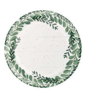 Maker's Holiday Christmas 8 pk 9'' Paper Dinner Plates-Farmhouse Trees