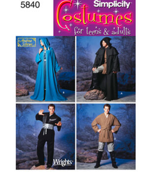 Simplicity Pattern 5840A Adult Costumes-Size XS S M L XL