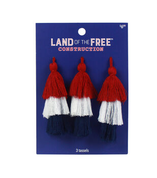 Land of the Free Tassels 3/Pkg-Red, White & Blue