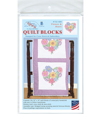 Jack Dempsey Needle Art 6 pk 18''x18'' Quilt Blocks-Flowers & Hearts