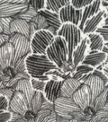 Specialty Luxe Fleece Fabric 59\u0022-Black & White Floral