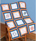 Jack Dempsey Needle Art 12 pk 9\u0027\u0027x9\u0027\u0027 Stamped Theme Quilt Blocks-Sports