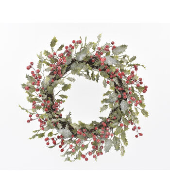 Blooming Holiday Christmas 22'' Frosted Holly & Berry Wreath