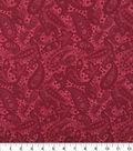 Wide Quilt Cotton Backing Fabric 108\u0022-Garnet Paisley