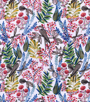 Silky Print Rayon Fabric 53''-Sparrows & Ferns
