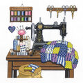 Antique Sewing Room Counted Cross Stitch Kit-12\u0022X12\u0022 14 Count