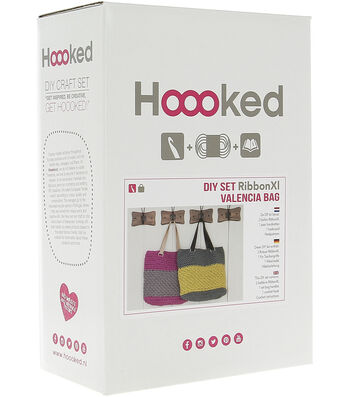 Hoooked Valencia Bag Kit with Ribbon XL Yarn-Dried Herb
