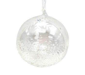 Handmade Holiday Christmas Crystal Cove Glass Ball Ornament-Clear