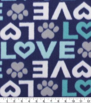 Blizzard Fleece Fabric-Navy Love & Paws