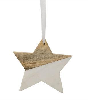 Handmade Holiday Christmas Scandimas 4.5''x0.5'' Cement Star Ornament