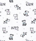 Snuggle Flannel Print Fabric -Baby Puppies
