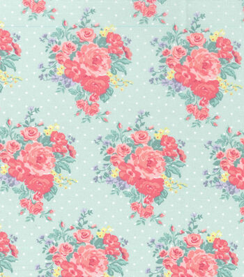 Easter Spring Pastels Cotton Fabric-Floral Dot