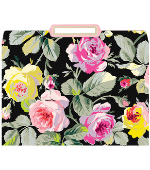 Anna Griffin Grace Blk Floral File Folders